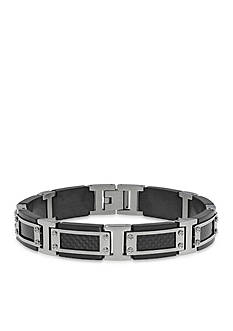 Belk & Co. Men's Stainless Steel Textured Black Carbon Cable Bracelet
