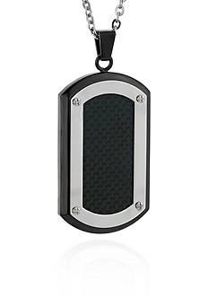 Belk & Co. Men's Stainless Steel Black Carbon Fiber Dog Tag Pendant