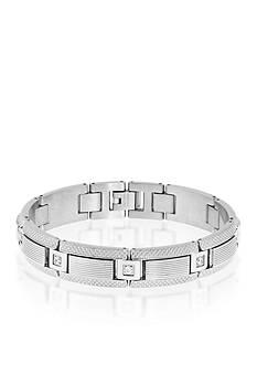 Belk & Co. Men's Stainless Steel Diamond Bracelet