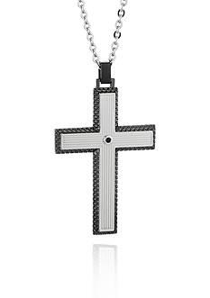 Belk & Co. Men's Stainless Steel Gun Metal Gray and Black Cubic Zirconia Cross Pendant