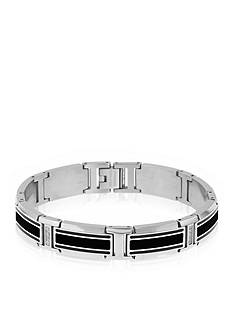 Belk & Co. Men's Stainless Steel Black Resin, Carbon, and Cubic Zirconia Bracelet