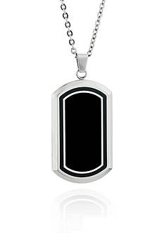 Belk & Co. Mens Stainless Steel Black Resin and Carbon Fiber Dog Tag Pendant
