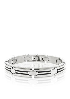 Belk & Co. Men's Stainless Steel and Black Resin Bracelet