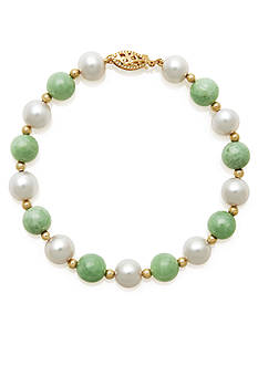 Belk & Co. 14k Yellow Gold Jade and Freshwater Pearl Bracelet