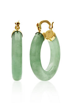 Belk & Co. 14k Yellow Gold Jade Hoop Earrings