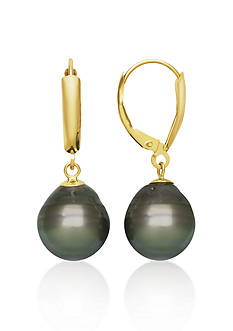 Belk & Co. 14k Yellow Gold Tahitian Black Pearl Earrings