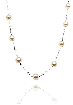 14k White Gold Freshwater Pearl Tincup 18-in. Necklace<br>
