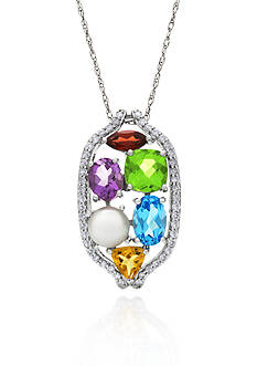 Belk & Co. 14k White Gold Gemstone and Freshwater Pearl Pendant