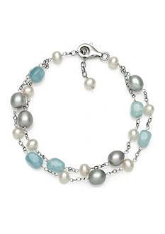 Belk & Co. Sterling Silver Milky Aquamarine and Freshwater Pearl Bracelet