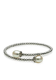 Belk & Co. Sterling Silver Freshwater Pearl and Sparkle Bead Bangle