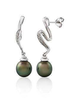 Belk & Co. Sterling Silver Tahitian Black Pearl and Diamond Earrings
