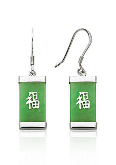 Belk & Co. Sterling Silver Rectangle Jade Earrings
