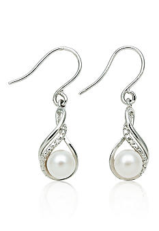Belk & Co. Sterling Silver Freshwater Pearl & Diamond Earrings