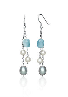 Belk & Co. Sterling Silver Milky Aquamarine and Freshwater Pearl Earrings