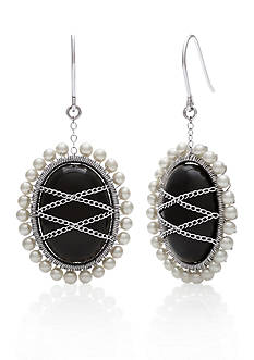 Belk & Co. Sterling Silver Black Onyx and Freshwater Pearl Earrings
