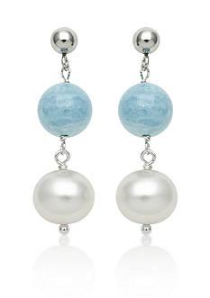 Belk & Co. Sterling Silver Milky Aquamarine and Freshwater Pearl Earrings