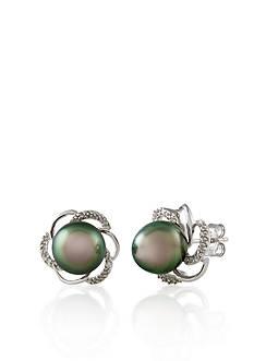 Belk & Co. Sterling Silver Tahitian Black Pearl and Diamond Flower Stud Earrings