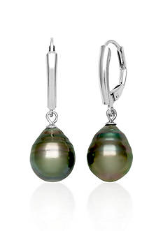 Belk & Co. Sterling Silver Tahitian Black Pearl Earrings