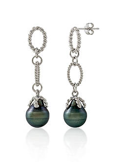Belk & Co. Sterling Silver Tahitian Black Pearl Earrings