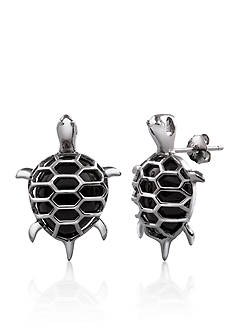 Belk & Co. Sterling Silver Onyx Turtle Earrings