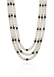 Belk & Co. Freshwater Pearl and Black Onyx Necklace in Sterling Silver