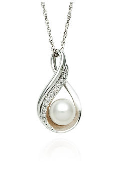 Belk & Co. Sterling Silver Freshwater Pearl & Diamond Pendant
