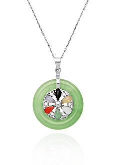 Belk & Co. Sterling Silver Multi Color Jade Wheel Pendant
