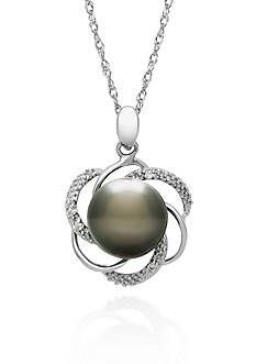 Belk & Co. Sterling Silver Tahitian Black Pearl and Diamond Pendant
