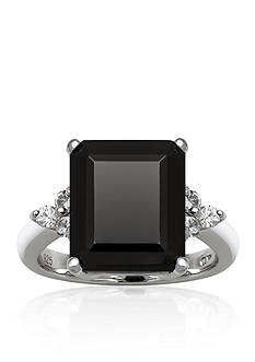 Belk & Co. Sterling Silver Onyx and White Topaz Ring