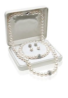 Belk & Co. Sterling Silver Freshwater Pearl and Crystal 4-piece Box Set