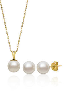 Amour de Pearl 14k Yellow Gold Freshwater Pearl Pendant and Earrings Set