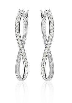 Belk & Co. Curved Diamond Hoop Earrings in Sterling Silver