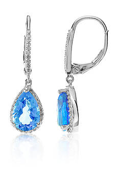 Belk & Co. Swiss Blue Topaz and Diamond Earrings Set in Sterling Silver
