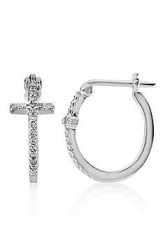 Belk & Co. Diamond Cross Hoop Earrings in 10k White Gold