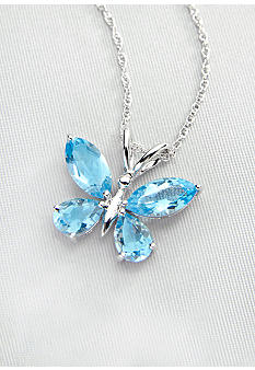 Belk & Co. Sterling Silver Blue Topaz Butterfly Pendant