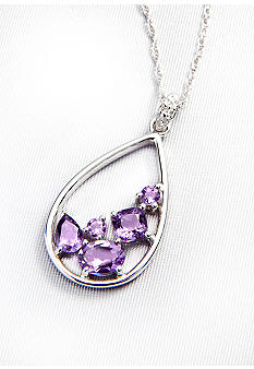 Belk & Co. Sterling Silver Amethyst Pendant with Diamond Accents