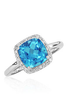 Belk & Co. Swiss Blue Topaz and Diamond Ring in Sterling Silver