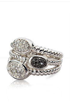 Belk & Co. Black & White Diamond Ring in Sterling Silver