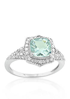 Belk & Co. 10k White Gold Aquamarine and Diamond Ring