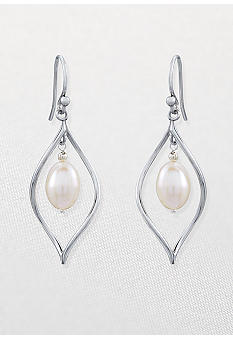 Belk & Co. Sterling Silver Freshwater Pearl Flame Dangle Earrings