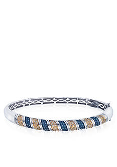 Belk & Co. Blue and Champagne Diamond Bangle in Sterling Silver