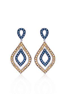 Belk & Co. Blue and Champagne Diamond Earrings in Sterling Silver