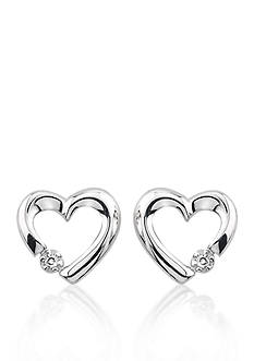 Belk & Co. Diamond Heart Earrings in 10k White Gold