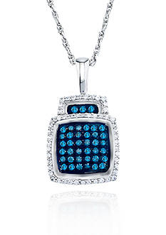 Belk & Co. Teal and White Diamond Pendant in Sterling Silver<br>