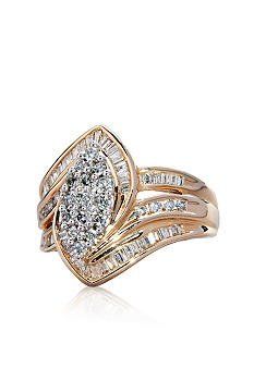 Belk & Co. 1.00 ct. t.w. Diamond Cluster Ring in 10k Two Tone Gold