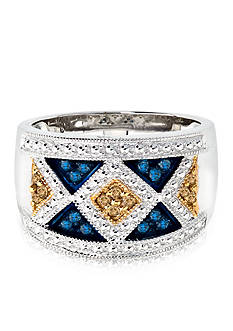 Belk & Co. Blue and Champagne Diamond Band in Sterling Silver