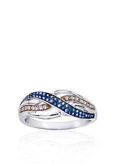Belk & Co. Blue and Champagne Diamond Ring in Sterling Silver