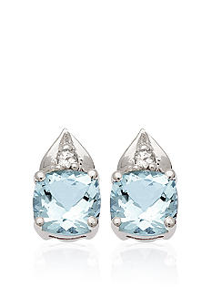 Belk & Co. 10k White Gold Aquamarine and White Topaz Earrings