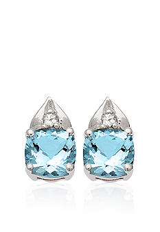 Belk & Co. 10k White Gold Blue and White Topaz Earrings
