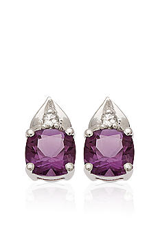 Belk & Co. 10k White Gold Amethyst and White Topaz Earring <br>